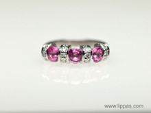 14 Karat White Gold Pink Sapphire and Diamond Ring