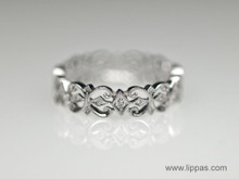 18 Karat White Gold Gothic Style Diamond Band