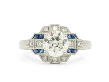 Art Deco Style Diamond and Sapphire Engagement Ring