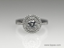 14 Karat White Gold Diamond Double Halo Engagement Ring