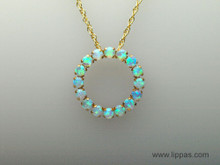 10 Karat Gold Victorian Opal Circle Pendant Necklace