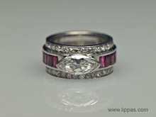 Platinum Art Deco Diamond and Ruby Ring