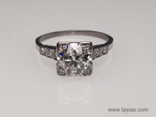 Platinum 1.54 Carat Old European Cut Diamond Art Deco Ring
