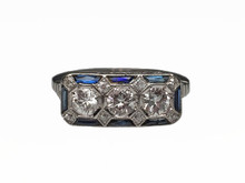 Platinum Art Deco Diamond and Synthetic Sapphire ring