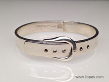 Silver Buckle Hinged Cuff Bracelet
