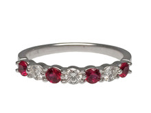 14 Karat White Gold Alternating Ruby and Diamond Wedding Band