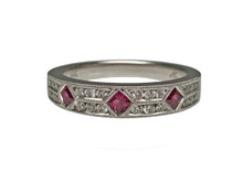 14 Karat White Gold and Princess Cut Ruby Band