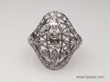 Platinum Edwardian Asscher Cut Diamond Engagement Ring