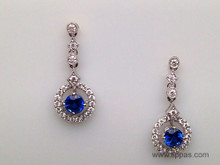 14 Karat White Gold Round Sapphire and Diamond Drop Earrings