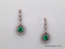 14 Karat White Gold Round Emerald and Diamond Drop Earrings