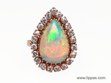 14 Karat Yellow Gold Opal and Diamond Ring