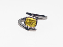 Platinum Custom Made Vivid Yellow Cushion Diamond Ring