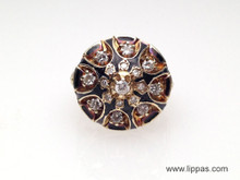 14 Karat Victorian Style Diamond and Black Enamel Dome Ring