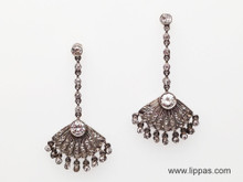 Platinum Diamond Dangle Fan Earrings
