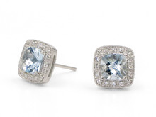 14 Karat White Gold Aquamarine and Diamond Halo Stud Earrings
