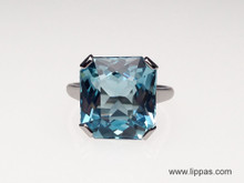 Platinum 7.73 Carat Aquamarine Ring