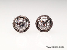 Platinum Topped Gold Edwardian Diamond Stud Earrings