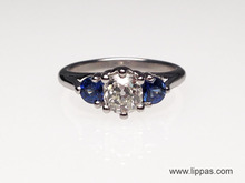 Platinum Custom Made Old European Diamond and Sapphire Engagement Ring