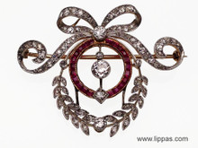 Platinum Topped Gold Edwardian Diamond and Ruby Pendant Brooch