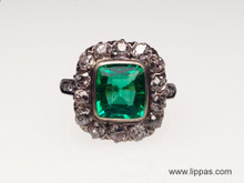 Silver Topped Gold Victorian Emerald and Diamond Ring