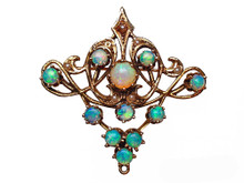 14 Karat Yellow Gold Victorian Opal and Seed Pearl Pendant/Brooch