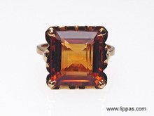 18 Karat Yellow Gold Square Citrine Retro Ring