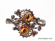 Barbara Bixby Silver and 18 Karat Yellow Gold Citrine and Diamond Cuff Bracelet