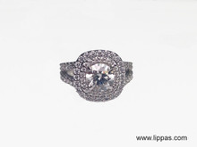 14 Karat White Gold Custom Made Double Halo Diamond Engagement Ring
