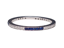 14 Karat White Gold Alternating Diamond and Sapphire Section Band