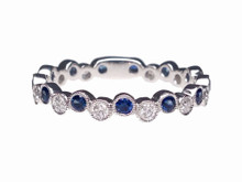 14 Karat White Gold Alternating Sapphire and Diamond Bubble Band