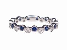 14 Karat White Gold Alternating Sapphire and Diamond Bubble Band