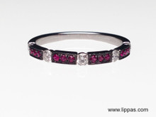 14 Karat Oxidized White Gold Ruby and Diamond Band
