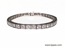 Platinum Art Deco Diamond Line Bracelet 5.70 Carats
