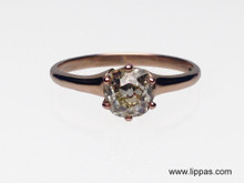 14 Karat  Rose Gold Estate Old Mine Cut Diamond Engagement Ring