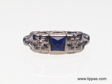 14 Karat White Gold Edwardian French Cut Sapphire and Diamond Ring