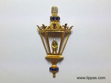 14 Karat Yellow Gold Sapphire, Citrine and Diamond Lantern Brooch and Pendant