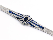 18 Karat White Gold Sapphire and Diamond Starburst Bracelet