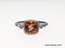 14 Karat White Gold Cushion Cut Checkerboard Citrine and Diamond Ring