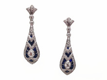 18 Karat Sapphire and Diamond Dangle Earrings