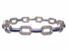 18 Karat White Gold Sapphire and Diamond Open Link Bracelet