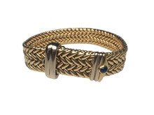 18 Karat Yellow Gold Wide Woven Buckle Bracelet