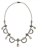 Silver Topped 18 Karat Gold Aquamarine and Diamond Necklace