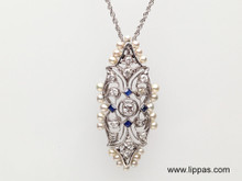 Platinum  Edwardian Diamond, Sapphire and Seed Pearl Pendant