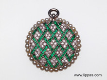 Platinum 1920's Emerald, Diamond and Seed Pearl Pendant