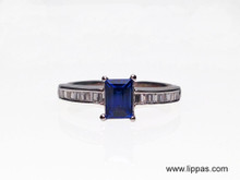 14 Karat White Gold Emerald Cut Sapphire and Diamond Baguette Ring