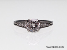 Platinum Retro Old European Cut Diamond Engagement Ring