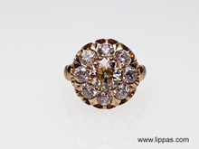 Victorian 14 Karat Yellow Gold Light Yellow Diamond Cluster Ring