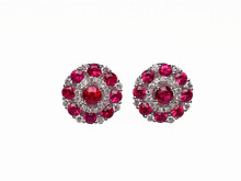 14 Karat White Gold Ruby and Diamond Circle Cluster Earrings