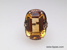 14 Karat Yellow Gold Filigree  Art Deco Cushion Cut Citrine Ring