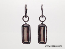 14 Karat Oxidized Yellow Gold Smokey Quartz and Diamond Drop earrings